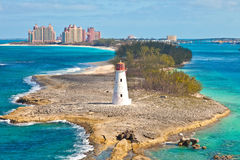 Nassau, Bahamas. Scenic view of the lighthouse that sits at the tip of Paradise Island in Nassau, Bahamas stock image