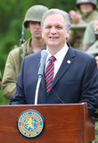 Nassau county executive Ed Mangano addresses World War II Encampment participants in Old Bethpage, NY Stock Photography