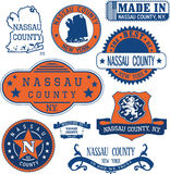 Nassau county, New York. Set of stamps and signs. Royalty Free Stock Photo