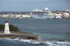 Leaving Nassau Harbour, the Bahamas Royalty Free Stock Photo