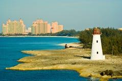 Nassau harbour lighthouse. And Atlantis Resort, Nassau, Bahamas stock photos