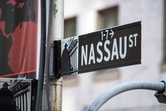 Nassau street sign, New York Royalty Free Stock Photos