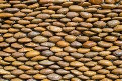 Nasse braune Kieselsteinwandbeschaffenheit Stockfotos