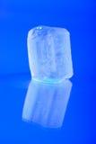 Nasse Eiswürfel auf blauem Hintergrund Stockfotos