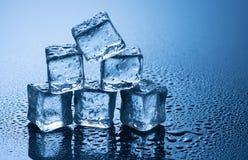 Nasse Eiswürfel auf blauem Hintergrund Lizenzfreie Stockfotografie