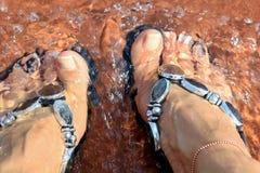 Nasse Füße! Kalte Füße! Sommer ist hier! Stockbild