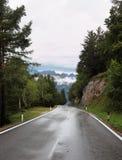 Nasse glänzende Straße in den Schweizer Alpen Stockbild