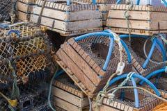 Nasse per crostacei impilate vicino su Immagini Stock Libere da Diritti