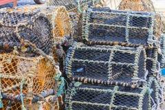 Nasse per crostacei impilate vicino su Fotografie Stock Libere da Diritti