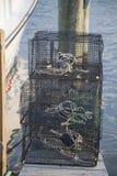 Nasse per granchi su un bacino vicino alla baia di Chesapeake Immagine Stock Libera da Diritti