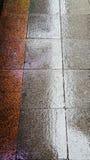 Nasse Pflasterung gemacht von den roten und grauen Steinen stockbilder