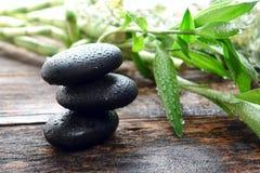 Nasse schwarze Poliermassage-Steine balanciert im Badekurort Stockfoto