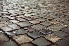 Nasse Straße gepflastert durch Pflasterstein Lizenzfreie Stockbilder