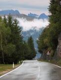 Nasse Straße in den Schweizer Alpen Stockfoto