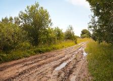Nasse Straße des leeren Landschaftschmutzes Stockfotografie