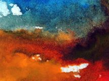 Nasse Wäsche der Aquarellkunstzusammenfassungshintergrundhimmelwolkenlandschaftsherbstflecksammelbeschaffenheit verwischte Fantas Lizenzfreies Stockbild