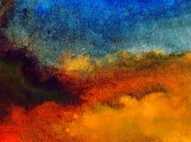 Nasse Wäsche der Aquarellkunstzusammenfassungshintergrundhimmelwolkenlandschaftsherbstflecksammelbeschaffenheit verwischte Fantas Lizenzfreies Stockfoto