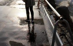 Nasser Fußboden Stockfoto