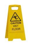 Nasses Fußbodenzeichen der Achtung Stockfoto