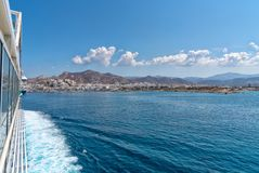 Nasso bay and harbor - Cyclades island - Aegean sea - Naxos - Gr. View of Nasso bay and harbor - Cyclades island - Aegean sea - Naxos - Greece royalty free stock images