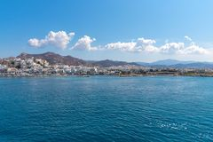 Nasso bay and harbor - Cyclades island - Aegean sea - Naxos - Gr. View of Nasso bay and harbor - Cyclades island - Aegean sea - Naxos - Greece stock images