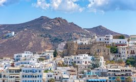 Nasso bay and harbor - Cyclades island - Aegean sea - Naxos - Gr. View of Nasso bay and harbor - Cyclades island - Aegean sea - Naxos - Greece stock image