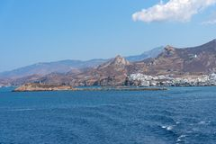 Nasso bay and harbor - Cyclades island - Aegean sea - Naxos - Gr. View of Nasso bay and harbor - Cyclades island - Aegean sea - Naxos - Greece royalty free stock photography