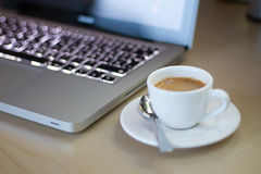 następny kawa espresso notatnik zdjęcie stock