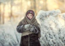 Nastenka in a fur coat.
