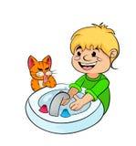 Nastolatek chłopiec myje jego ręki Zdjęcie Stock