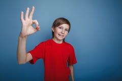 Nastolatek chłopiec w czerwonej koszula pokazuje OK znaka na a Obraz Royalty Free
