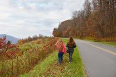 Nastolatek dziewczyn wycieczkować kolorowy, jesieni góry Zdjęcie Stock