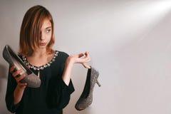 Nastolatek dziewczyny mody fotografia z emocją i udziałami kopii przestrzeń Obraz Royalty Free