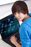 nastolatek laptopa Fotografia Royalty Free
