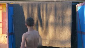 Nastolatek myje dywan z strumieniem woda zbiory wideo