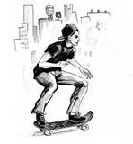 Nastolatek na deskorolka ilustracja wektor