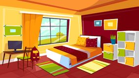 Nastolatek sypialni kreskówki wektorowa ilustracja nastoletni dziewczyny lub chłopiec izbowy wewnętrzny meblarski tło Zdjęcie Stock