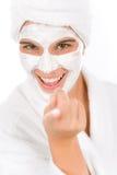 nastolatek twarzowa szczęśliwa maskowa kobieta Fotografia Stock