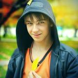 Nastolatek w jesień parku Obraz Royalty Free