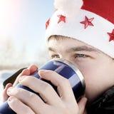 Nastolatek w Santa kapeluszu Zdjęcie Stock