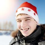 Nastolatek w Santa kapeluszu Obrazy Royalty Free