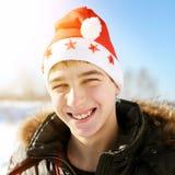 Nastolatek w Santa kapeluszu Zdjęcia Stock
