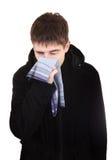 Nastolatek z grypą Obraz Stock