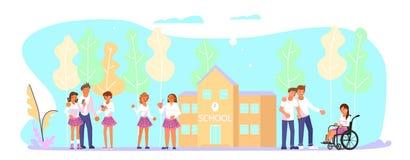 Nastolatkowie grupują przed szkołą ilustracja wektor