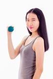 Nastoletni Azjatycki dziewczyny mienia dumbbell Fotografia Royalty Free