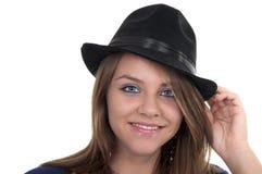 nastoletni blondynka czarny kapelusz Fotografia Stock
