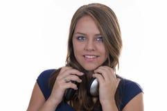 nastoletni blondynka hełmofony Zdjęcia Royalty Free