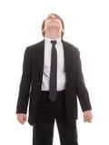 Nastoletnia chłopiec w kostiumu i krawata przyglądający up niebo Zdjęcia Stock