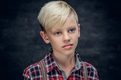 Nastoletni chłopak w koszula na popielatym tle fotografia stock