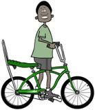 Nastoletni chłopak jedzie jego bicykl Zdjęcie Royalty Free